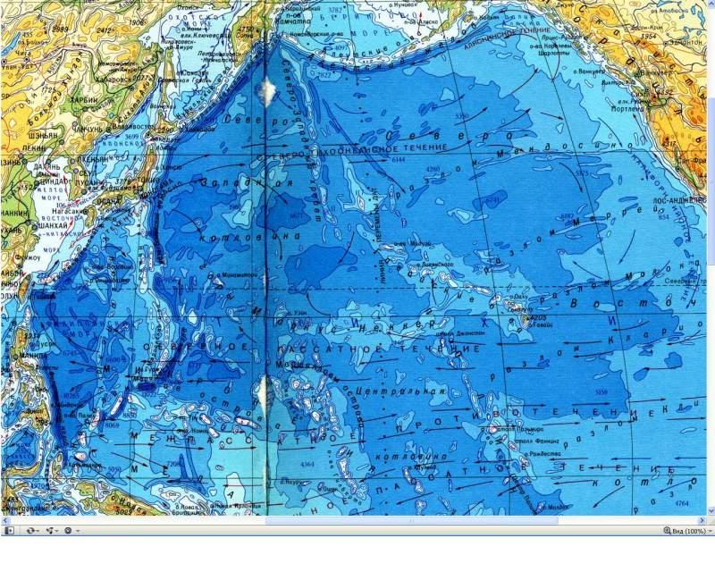Карта течений Тихого океана