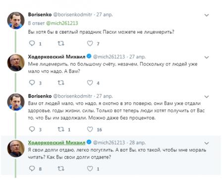 Ходорковский на Пасху получил от пользователей пожелание заткнуться