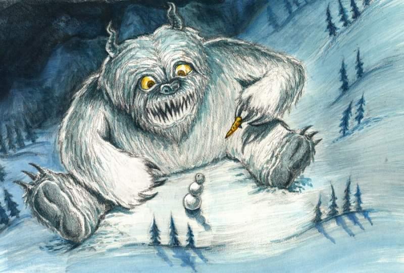 Открытка, прикольные картинки снежный человек
