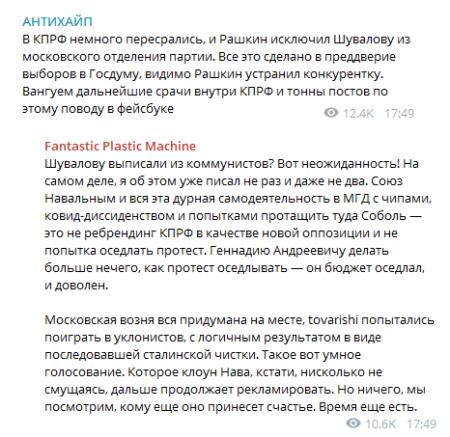 Ступин с Рашкиным поцапались из-за Шуваловой, но ради грантов вышли на акцию протеста против ЭГ